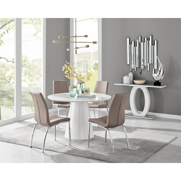 Palma White High Gloss Round Dining Table & 4 Isco Chairs