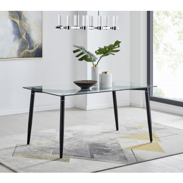 Pisa Glass Black Leg Rectangular 6 Seat Dining Table