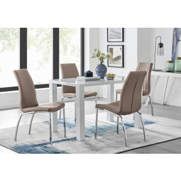 Pivero White High Gloss Dining Table And 4 Isco Chairs Set