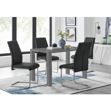 Pivero Grey High Gloss Dining Table And 4 Lorenzo Chairs Set