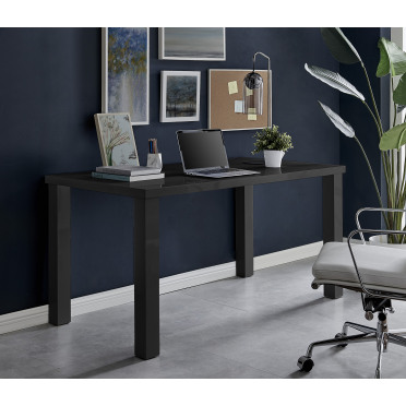 Pivero Black High Gloss Home Office Writing Desk Large