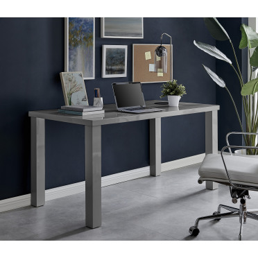 Pivero Grey High Gloss Home Office Writing Desk Large