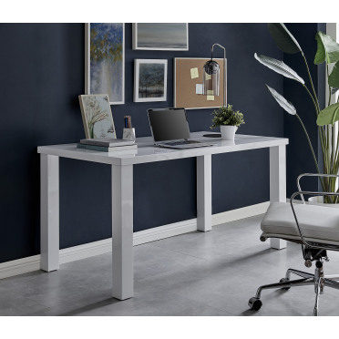 Pivero White High Gloss Home Office Writing Desk Large