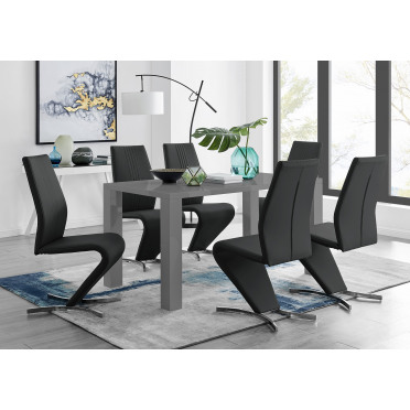 Pivero Grey High Gloss Dining Table And 6 Luxury Willow Chairs Set