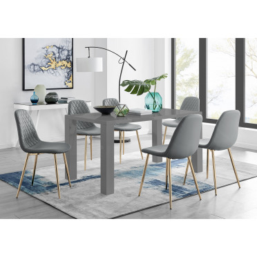 Pivero Grey High Gloss Dining Table And 6 Corona Gold Chairs Set
