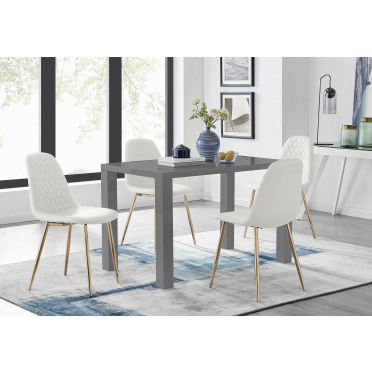 Pivero Grey High Gloss Dining Table And 4 Corona Gold Chairs Set