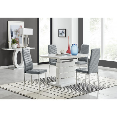 Renato 120cm High Gloss Extending Dining Table and 4 Milan Chairs