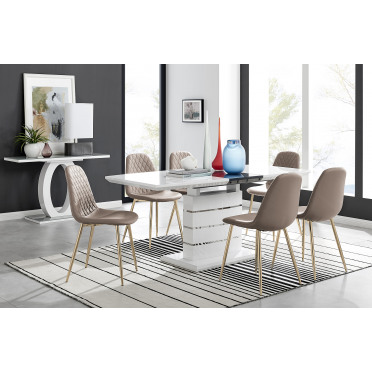 Renato High Gloss Extending Dining Table and  6 Corona Gold Leg Chairs