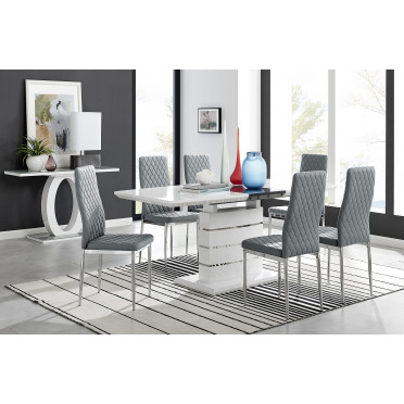 Renato 6 Extending Table And 6 or 8 Milan Chairs