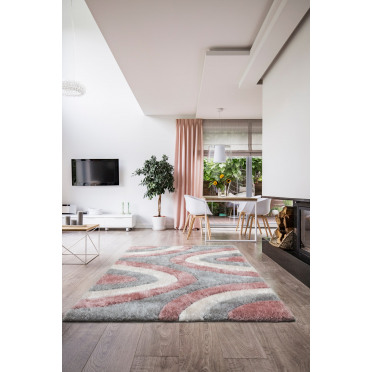 Luxus Ripple Modern Curved Striped Rug in Pink - 80x150cm