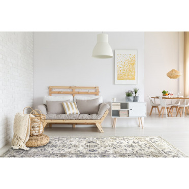 Vintage Timeless Shabby-Chic Floral Distressed Rug in Beige - 80x150cm