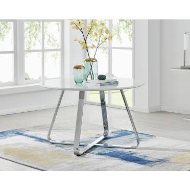 Santorini White Wood Contemporary Round Dining Table