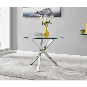 Selina Chrome Round Square Leg Glass Dining Table