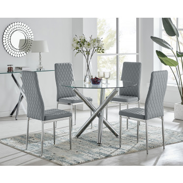 Selina Chrome Round Glass Dining Table and 4 Milan Dining Chairs