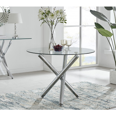 Selina Chrome Round Glass Dining Table