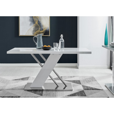 Sorrento White High Gloss And Stainless Steel Dining Table