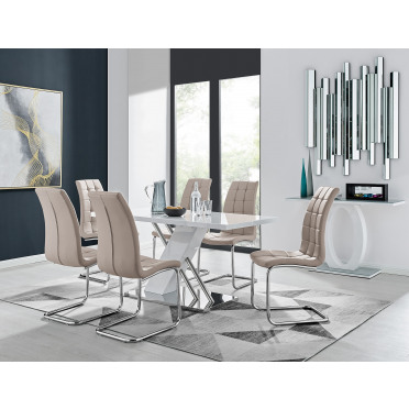Sorrento White High Gloss And Stainless Steel Dining Table And 6 Murano Dining Chairs