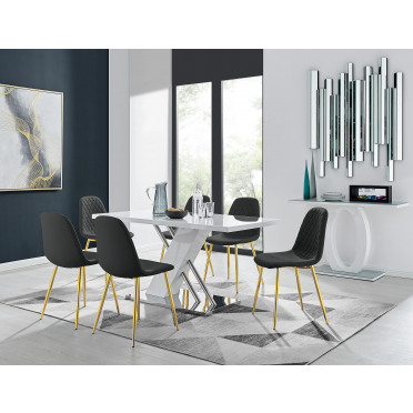 Sorrento White High Gloss And Stainless Steel Dining Table And 6 Corona Gold Dining Chairs
