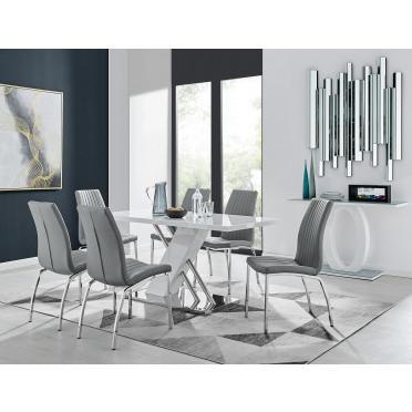 Sorrento White High Gloss And Stainless Steel Dining Table And 6 Isco Dining Chairs