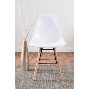4x Sven Wooden Plastic Dining Chairs White