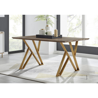 Taranto Oak Effect Gold Leg 6 Seat Dining Table