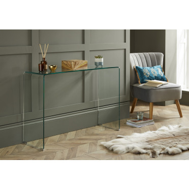 Turin Modern Clear Glass Curved Console Table