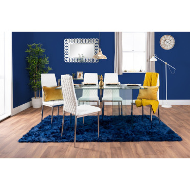 Turin Large Modern Clear All Glass Dining Table And 6 Milan Chairs Set