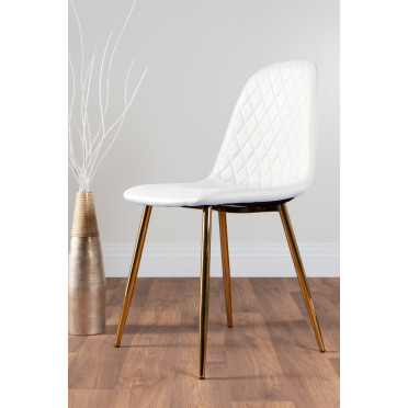 2x Corona Gold Leg White Faux Leather Dining Chair