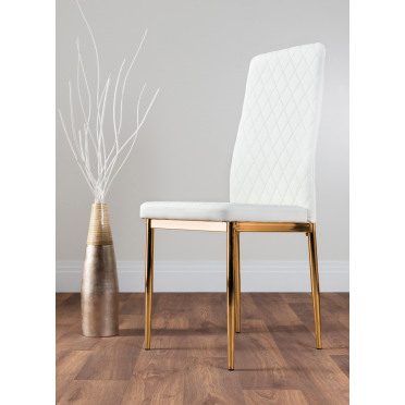 6x Milan White Gold Hatched Faux Leather Dining Chairs