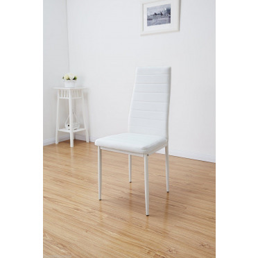 Montero White Designer Faux Leather Dining Chair Set 4 and 6