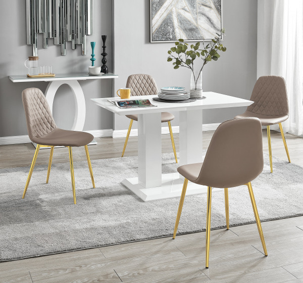 Imperia 4 Modern White High Gloss Dining Table And 4 Corona Gold Chairs Set