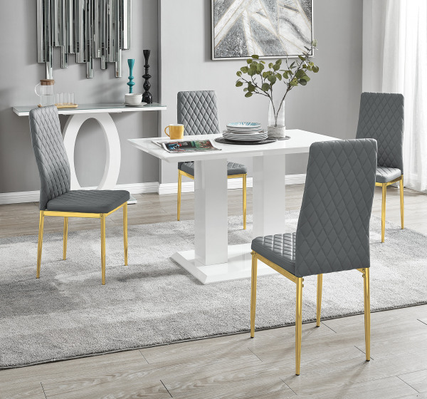 Imperia 4 White Dining Table and 4 Gold Leg Milan Chairs