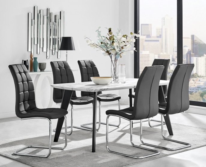 Andria Black Leg Marble Effect Dining Table and  6 Murano Chairs