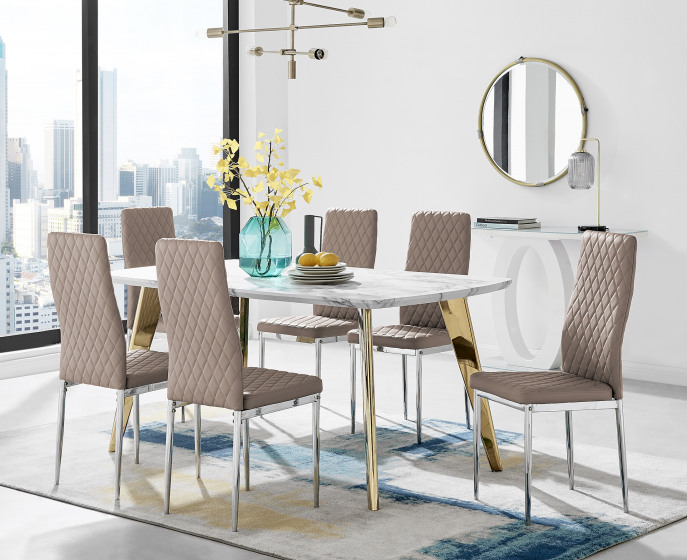 Andria Gold Leg Marble Effect Dining Table and  6 Milan Chairs