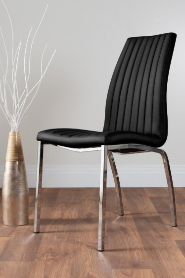 2x Isco Faux Leather Upholstered Black Chrome Dining Chairs