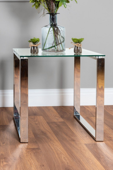 Miami Modern Clear Glass And Chrome Metal Side End Table