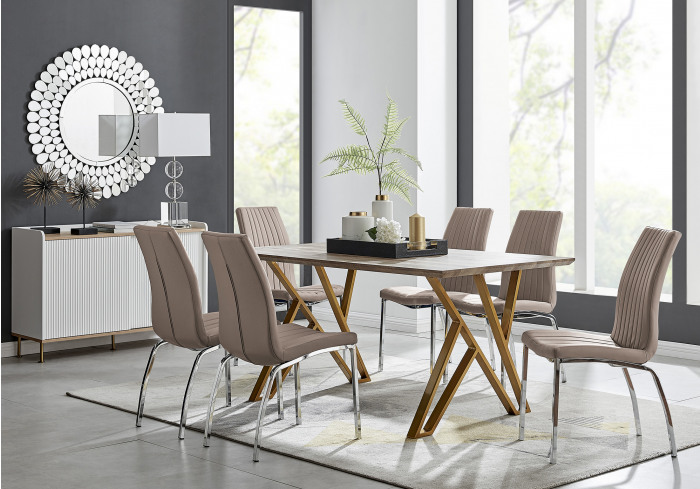 Taranto Oak Effect Dining Table and 6 Isco Chairs