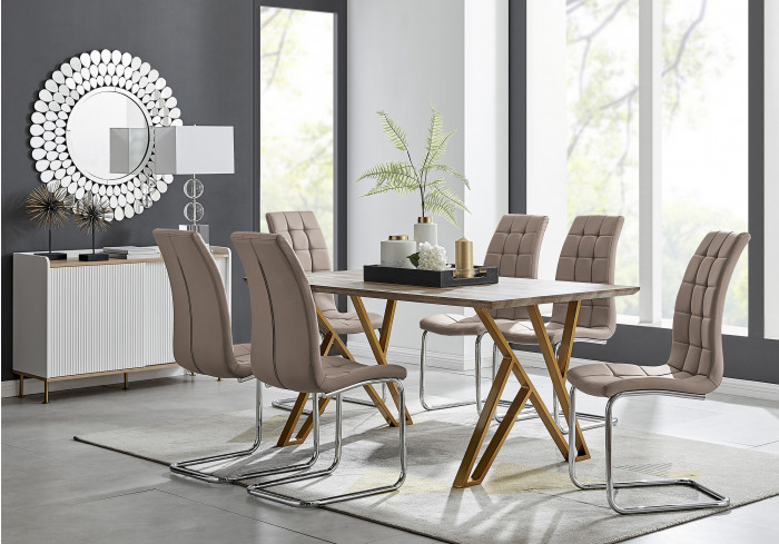 Taranto Oak Effect Dining Table and 6 Murano Chairs