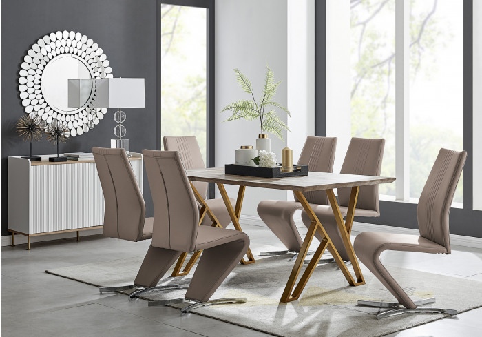 Taranto Oak Effect Dining Table and 6 Willow Chairs