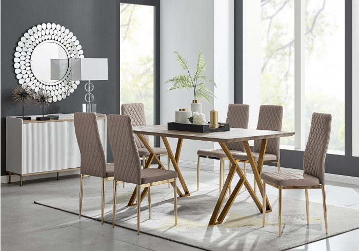 Taranto Oak Effect Dining Table and 6 Gold Leg Milan Chairs