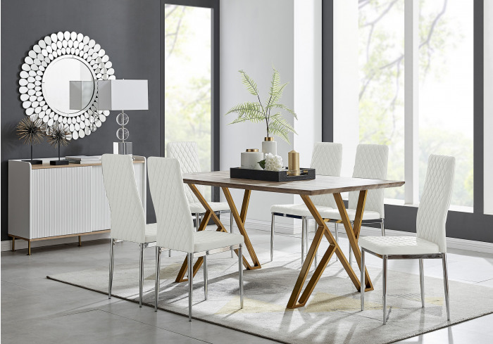 Taranto Oak Effect Dining Table and 6 Milan Chairs