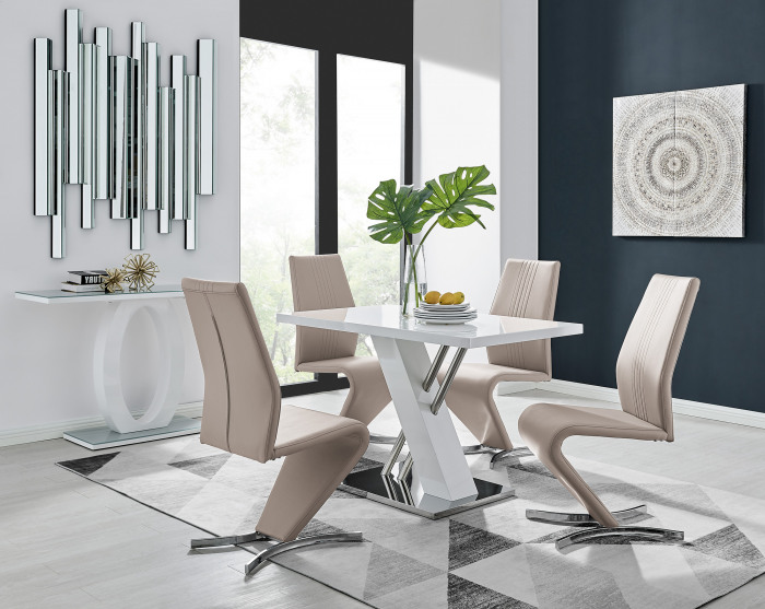 Sorrento 4 White High Gloss And Stainless Steel Dining Table And 4 Luxury Willow Chairs Set