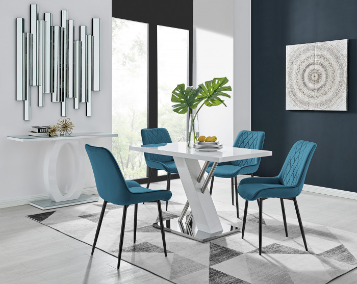 Sorrento 4 White Dining Table and 4 Pesaro Black Leg Chairs