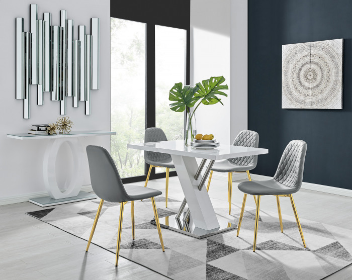 Sorrento 4 White High Gloss And Stainless Steel Dining Table And 4 Corona Gold Chairs Set