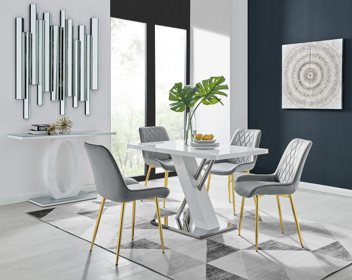 Sorrento 4 White Dining Table and 4 Pesaro Gold Leg Chairs
