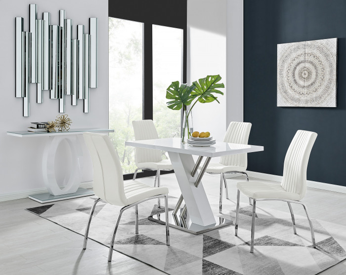 Sorrento 4 White High Gloss And Stainless Steel Dining Table And 4 Isco Chairs Set