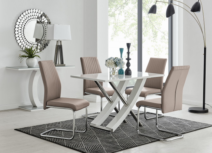 Mayfair 4 White High Gloss And Stainless Steel Dining Table And 4 Lorenzo Chairs Set