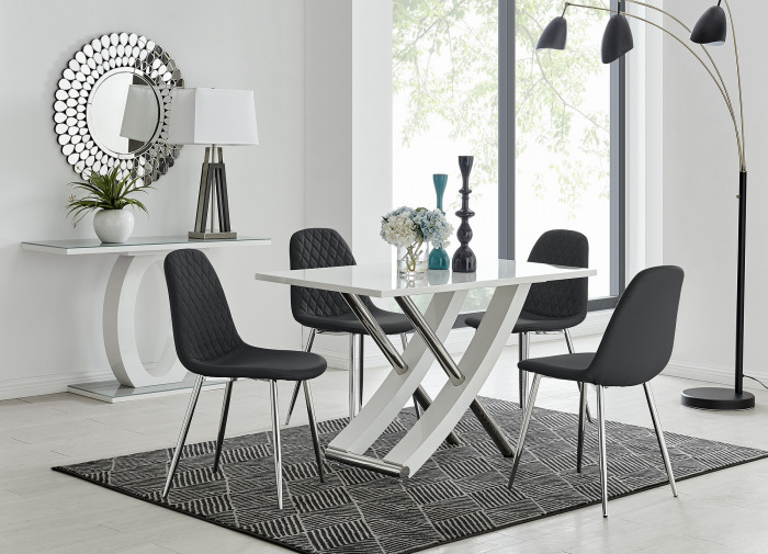 Mayfair 4 Dining Table and 4 Corona Silver Leg Chairs