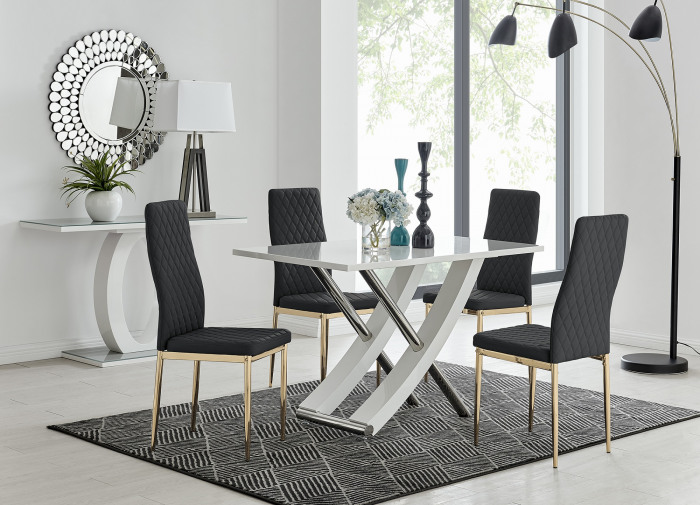 Mayfair 4 Dining Table and 4 Gold Leg Milan Chairs