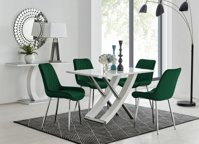 Mayfair 4 Dining Table and 4 Pesaro Silver Leg Chairs